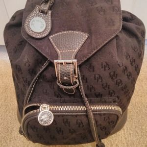 Dooney and Bourke black leather and canvas backpac